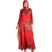 Шифоновое мусульманское платье красного цвета с узорами