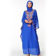 Мусульманское платье синего цвета из шифона