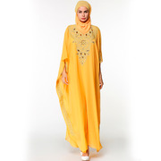 Мусульманское платье ярко желтого цвета из шифона