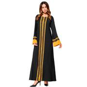 Арабское платье черного цвета с длинными рукавами и ярко желтым узором