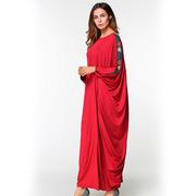 Бордовое платье с рукавом летучая мышь свободного размера