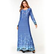 Длинное платье цвета виноградного тумана с узорами