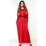 Красное платье свободного размера с рукавом летучая мышь
