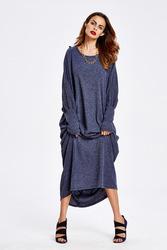 Длинное свободное платье с рукавом летучая мышь темно-синее