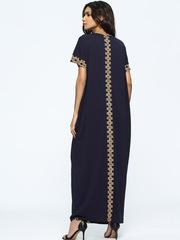 Длинное восточное платье темно-синее с орнаментом